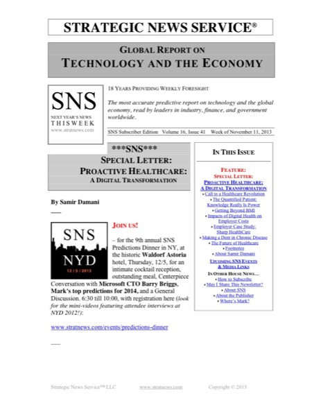 Sns Special Letter Proactive Healthcare A Digital Transformation Strategic News Service